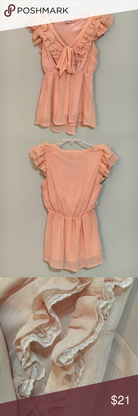 F21 ruffle blouse Romantic blouse with bow and ruffle lace details. Cinched waist, v-neck. Forever 21 Tops Blouses