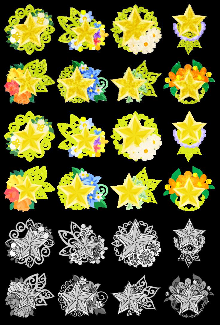 フリーのアイコン素材「星の宝石 / icons of star jewels」