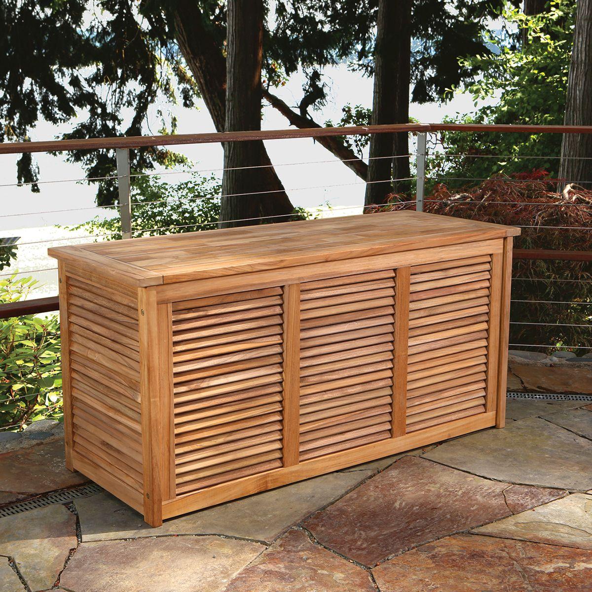 Teak Louvered Panel Outdoor Storage Box | Bainbridge Collection
