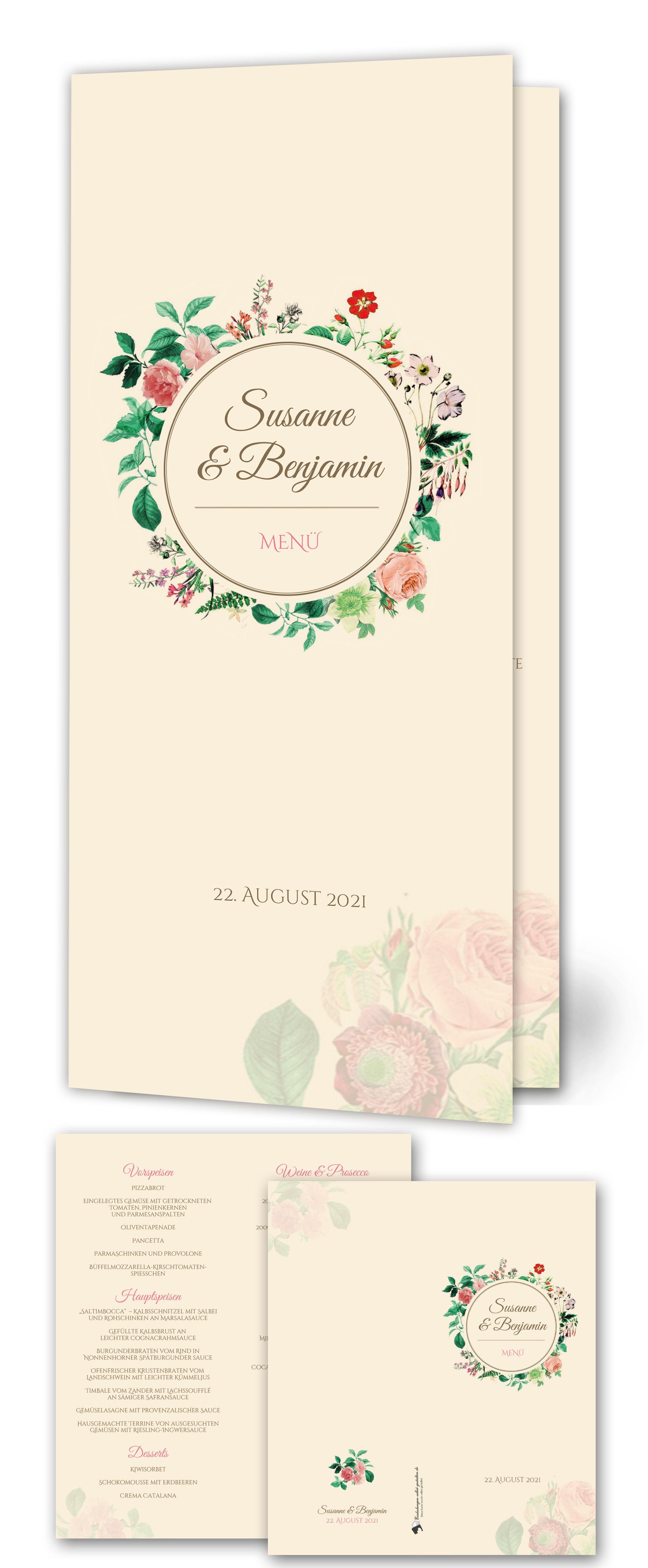Menükarte Vintage Wedding-Timeline. Aufgeklappt: 21 cm breit x 24 cm ...