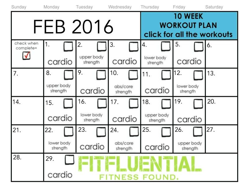 Week Workout Plan  February Workouts  Workout Calendar