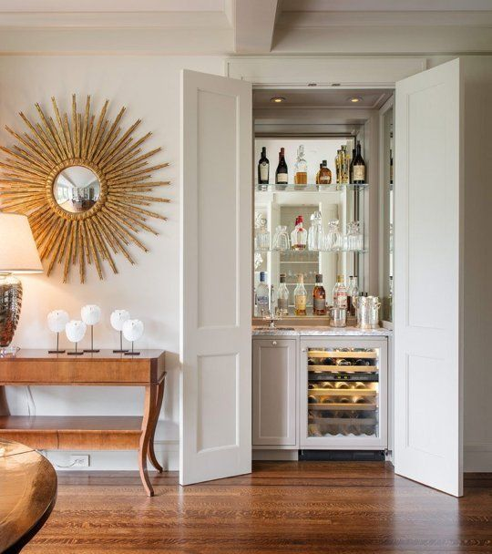 Love This Idea Plus The Awesome Mirror How To Fit A Built In Bar Small Home Apartment Therapy