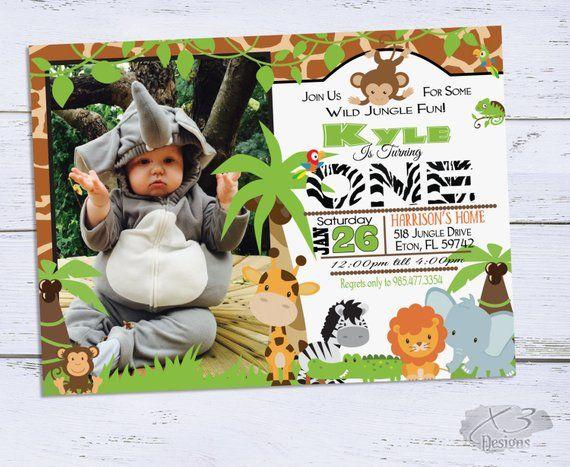 Jungle Birthday Invitations Safari Birthday Invitation 1st