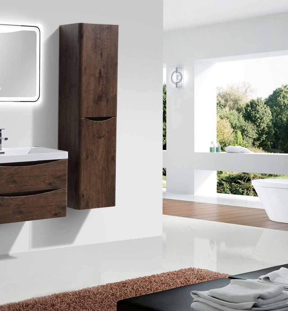 Eviva Smile 16 inch Rosewood Wall Mount Side Cabinet   Bathroom ...
