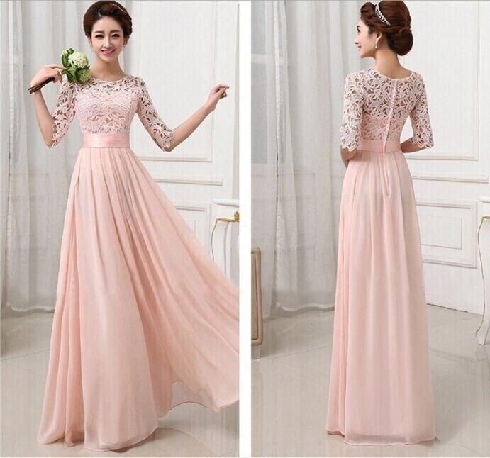 Vestidos De Fiesta Pink White Chiffon Long Formal Prom Gowns Back Lace Evening  Dress Elegant Bridesmaid Dress Brides Maid Dress with Sleeves 8349d9687fba