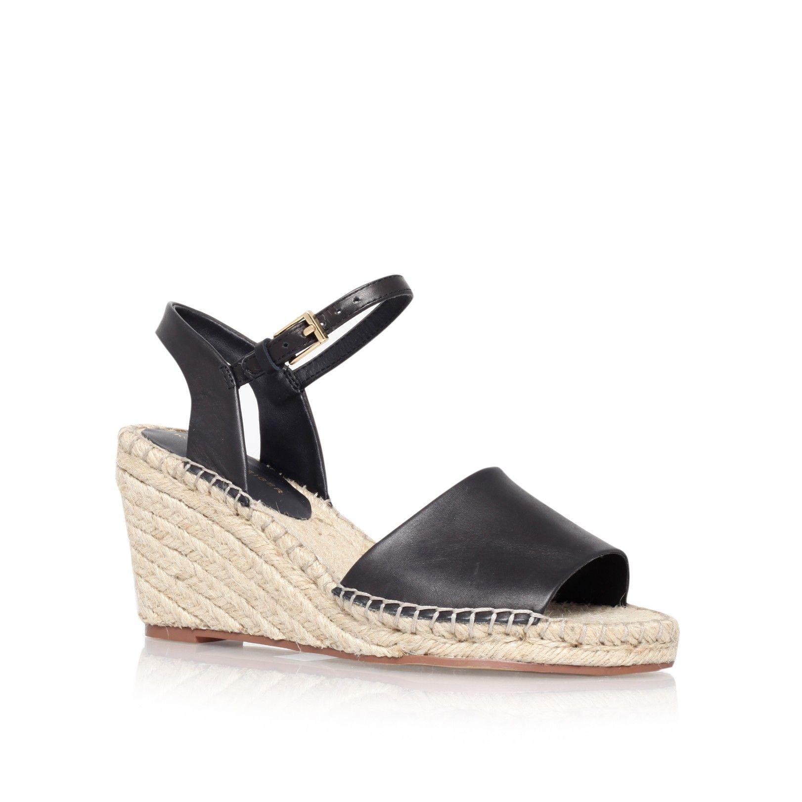 104e443cca2 River Island Womens White stripe Caroline Flack block heel sandal. Caroline  Flack. Faux suede upper. Stripe print. Strappy design. Buckle fast…
