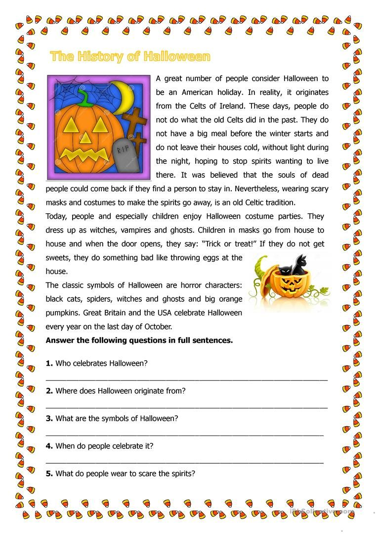 The History Of Halloween Halloween Worksheets Halloween History Halloween Reading Comprehension [ 1079 x 763 Pixel ]