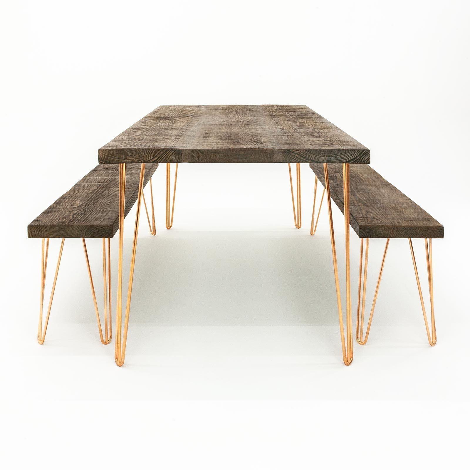 Ouseburn Hairpin Leg Dining Table Benches Rustic Pine Copper
