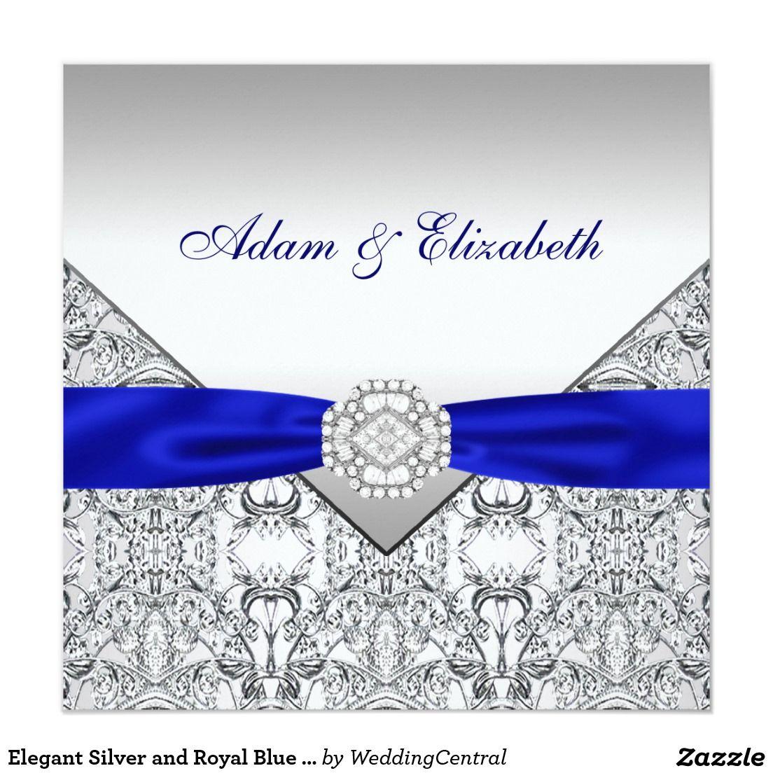 Elegant Silver and Royal Blue Wedding Invitations | Elegant Wedding ...