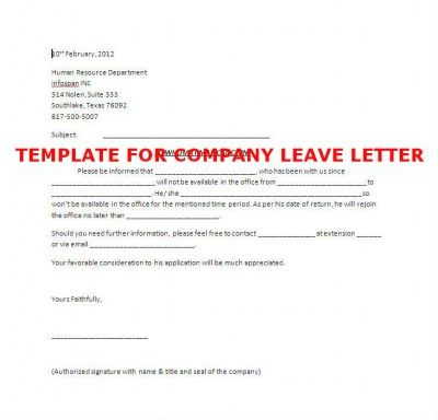 Template Of Company Leave Letter  Books  Literature