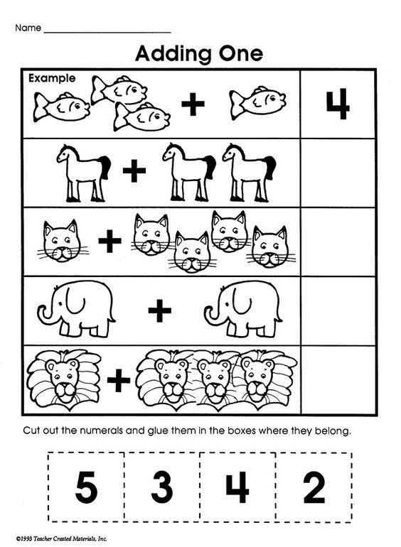 Basic Addition Worksheets For Preschoolers : Adding one printable addition worksheet for kids math