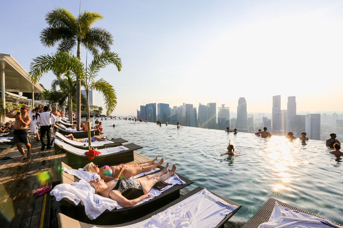 Swimming On Top Of Singapore At Marina Bay Sands Hotel The
