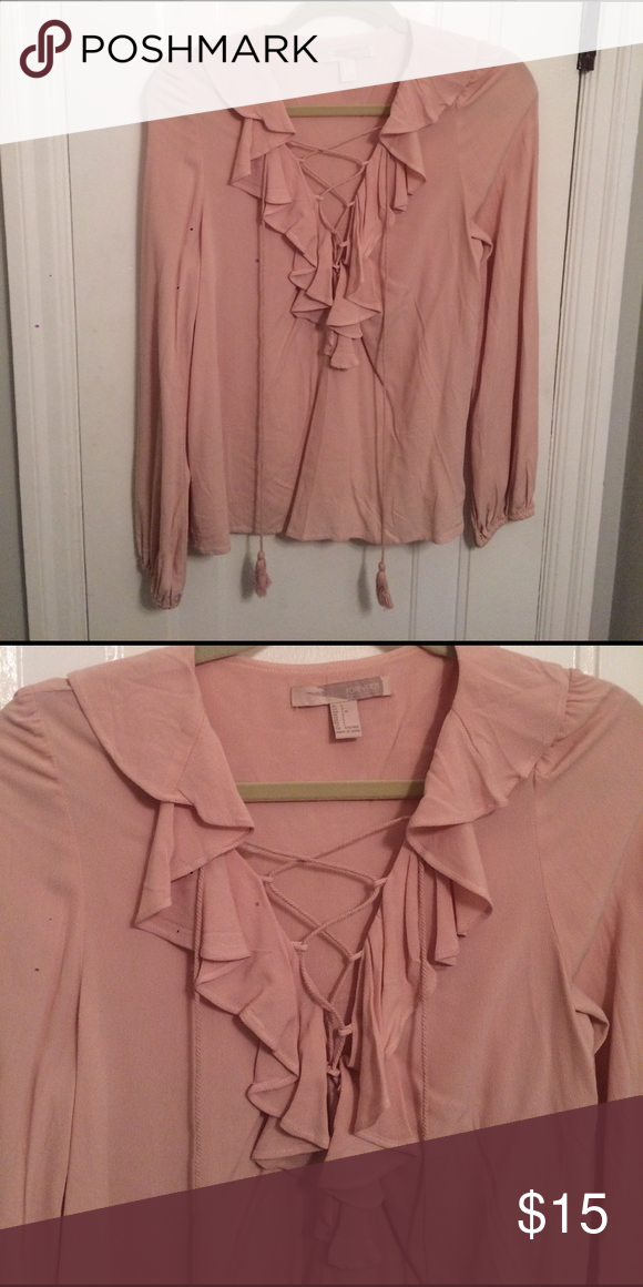 Blush ruffle lace up blouse Worn once, fits like a medium Tops Blouses
