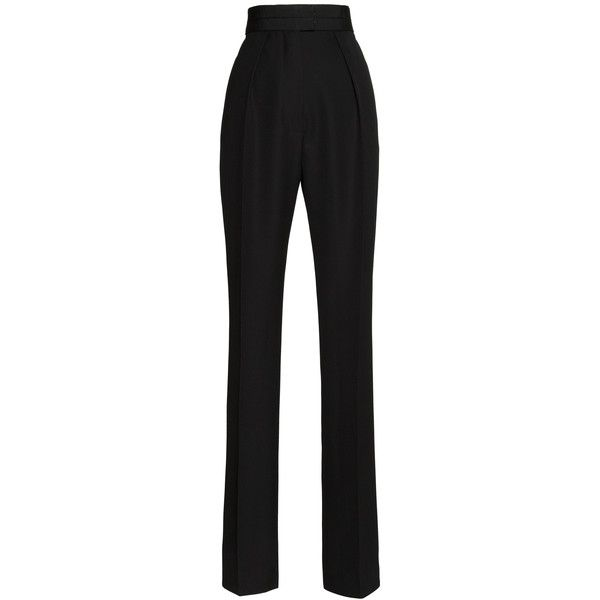 Martin Grant High Waisted Pant With Grosgrain Waist ($330) ❤ liked on Polyvore featuring pants, highwaisted pants, pleated pants, slim pants, high rise pants and high waisted pants
