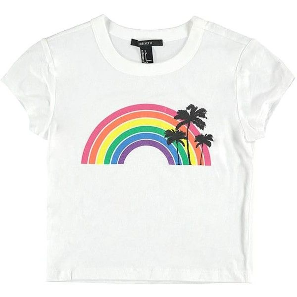d69a604173 Forever21 Cropped Rainbow Graphic Tee ($9.90) ❤ liked on Polyvore featuring  tops, t-shirts, short sleeve graphic tees, white graphic t shirt, ...