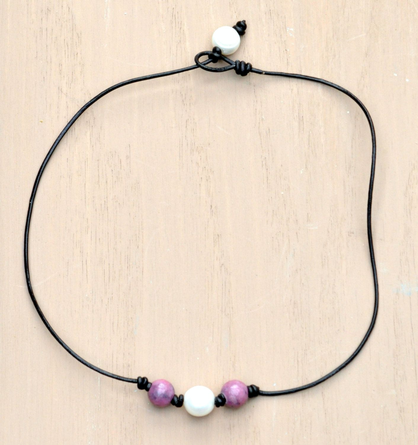 Freshwater Pearl , Rhodonite and Leather Choker Necklace/Pink Gemstone/White Pearl Necklace/Leather Jewelry/Pearl Necklace/Beaded Pearls by BonafideBeads on Etsy
