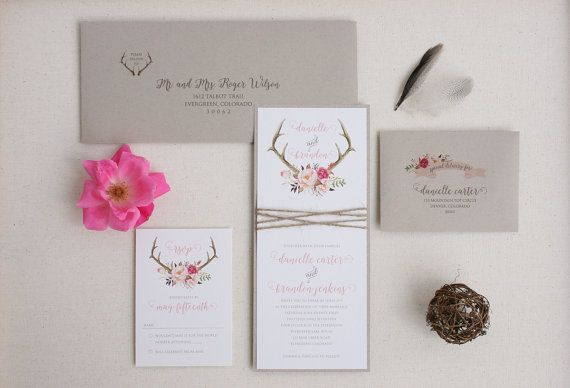 Rustic Wedding Antler Invitation Suite With Twine Wrap Blush