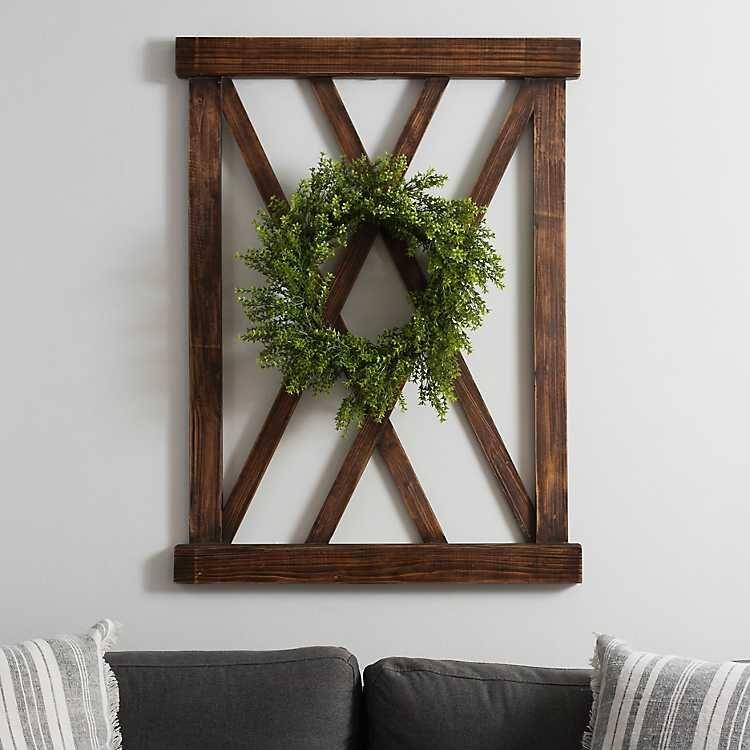 Dark Walnut X Frame Wood Wall Plaque With Wreath Wood Wall Art Diy Diy Wood Wall Frame Wall Decor