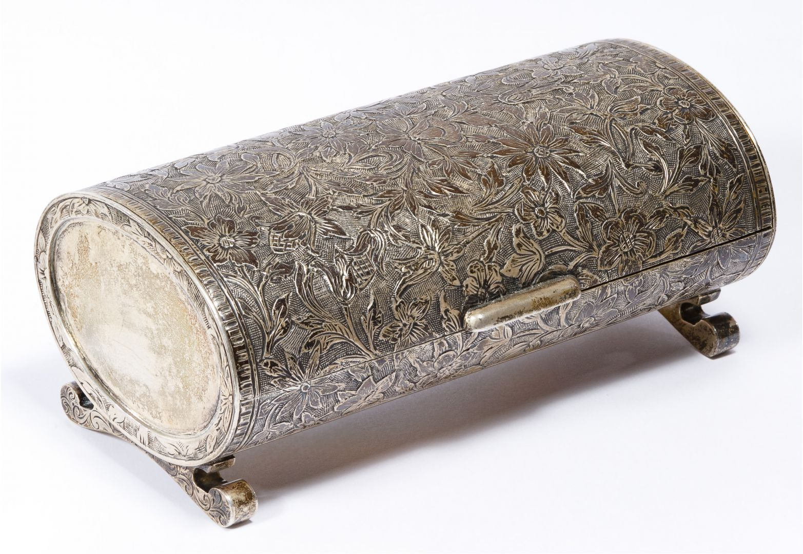 """Lot 134: Sterling Silver Lidded Box; Floral motif, gold wash interior; marked """"925"""" on inner front lip"""