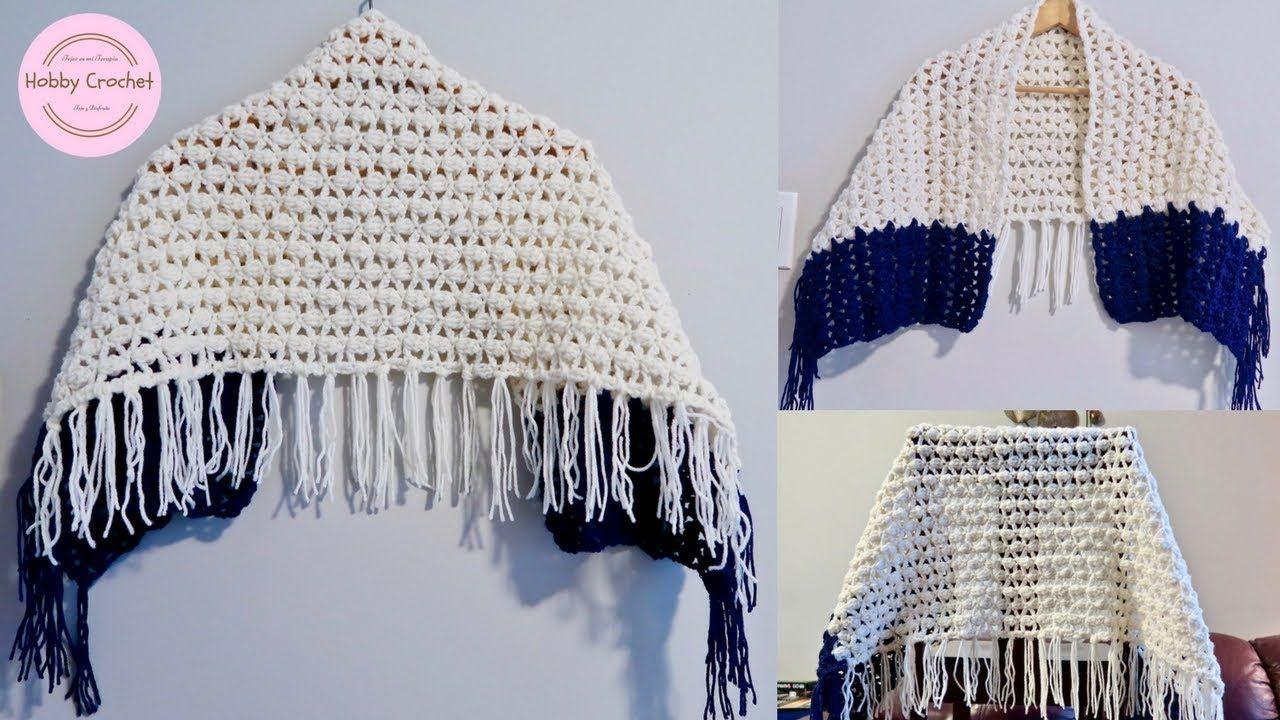 Chal rectangular facil a crochet paso a paso (Versión diestra ...