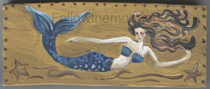 Sleeping Mermaid on Beach  Sea Ocean Waves Seagulls Starfish Ready to Hang