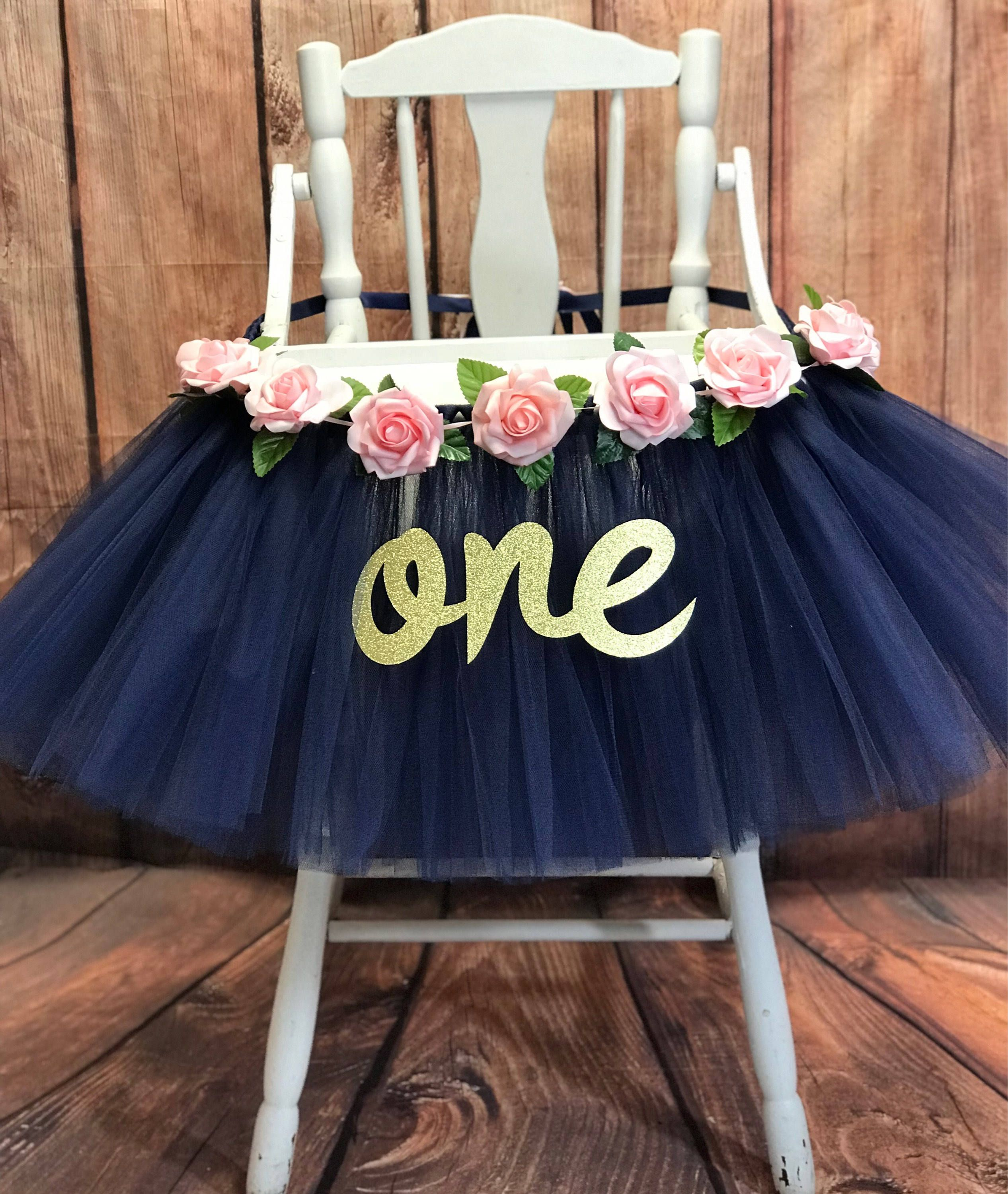 Navy Floral First Birthday High Chair Tutu Highchair Tutu Etsy Floral Birthday Party Girl First Birthday Girl Birthday