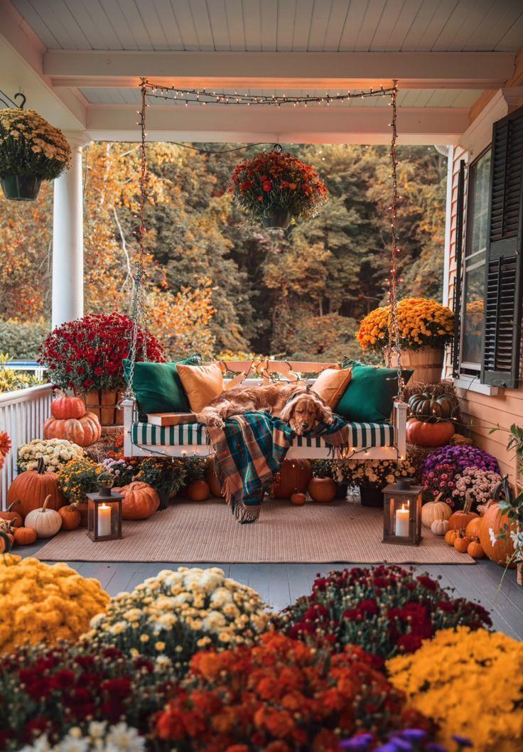 Fall Porch Decorating  - Seasons - Autumn Fall Porch Decorating  - Seasons - Autumn -