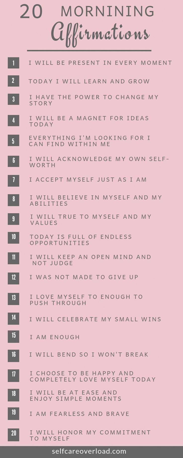 30+ 20 Morning Affirmations To Start Your Day   Self Care Overload