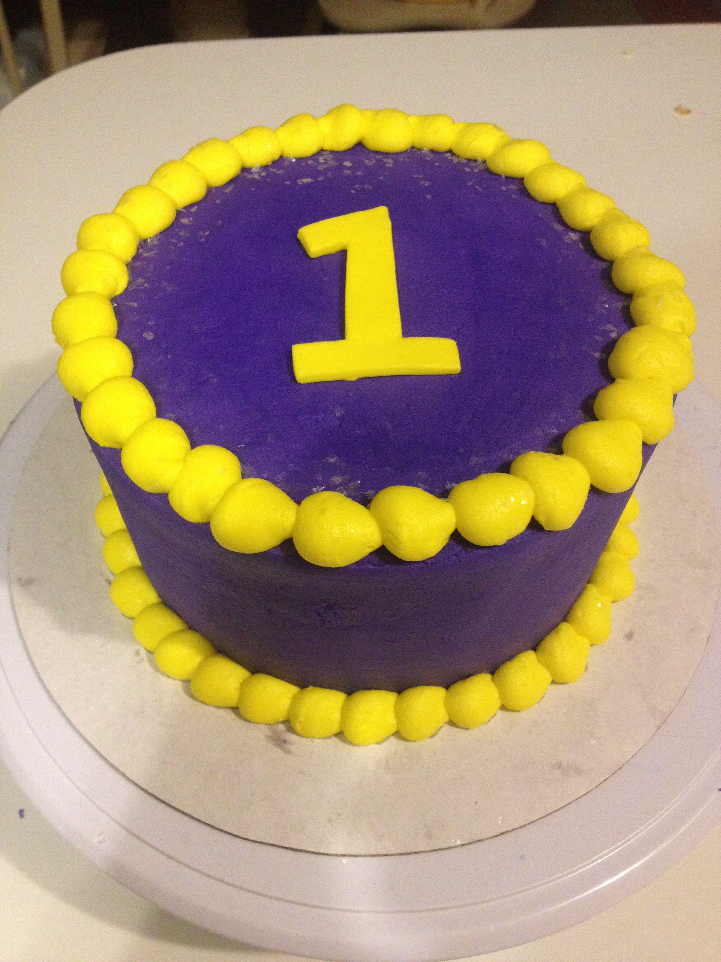 LSU colored smash cake. Made by Christy Zondlo of Christy's Creations OKC.