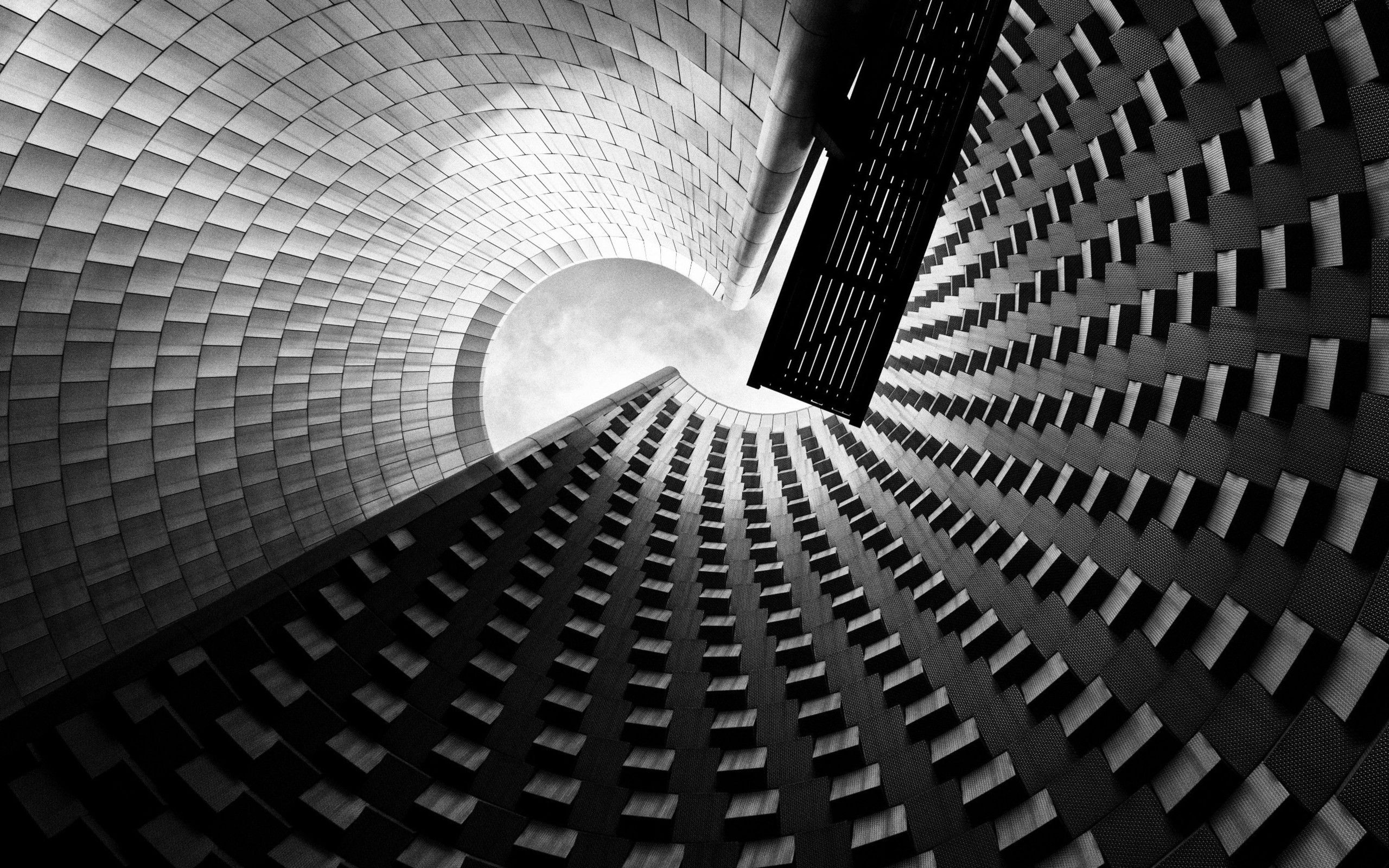 Modern Architecture Photography Black And White general 2560x1600 architecture monochrome modern clouds worm's eye