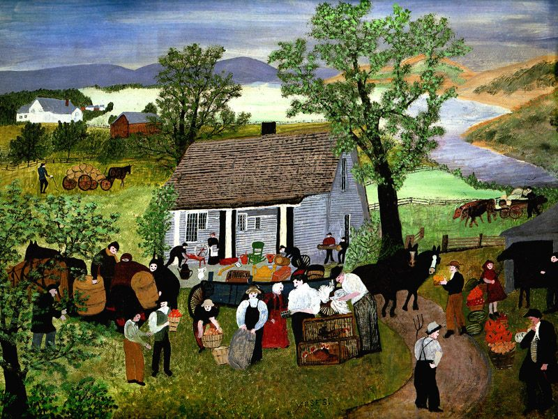 Grandma Moses - Morning Day on the Farm, 1951 (с изображениями) | Картины,  Пейзажи, Бабушка мозес