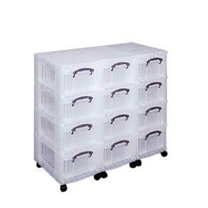 Tour Mobile 12 Tiroirs Reallyusefulboxes Tour De Rangement Plastique Transparent Tiroirs En Plastique