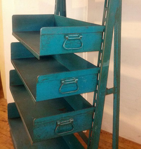 4 Bins Organizer Shelving Cart Blue Green by urbanfactoryclassics $550.00