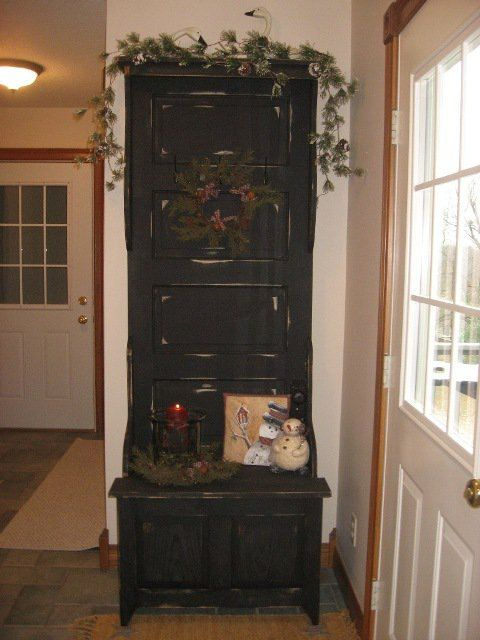 Charming Antique Door Hall Tree With Storage Bench