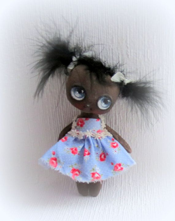 Sweet hand painted  black cloth doll by suziehayward on Etsy, $59.00