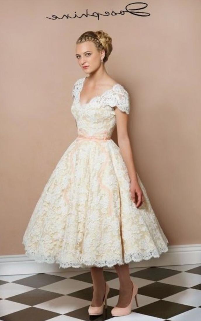 Vintage Tea Length Plus Size Wedding Dresses