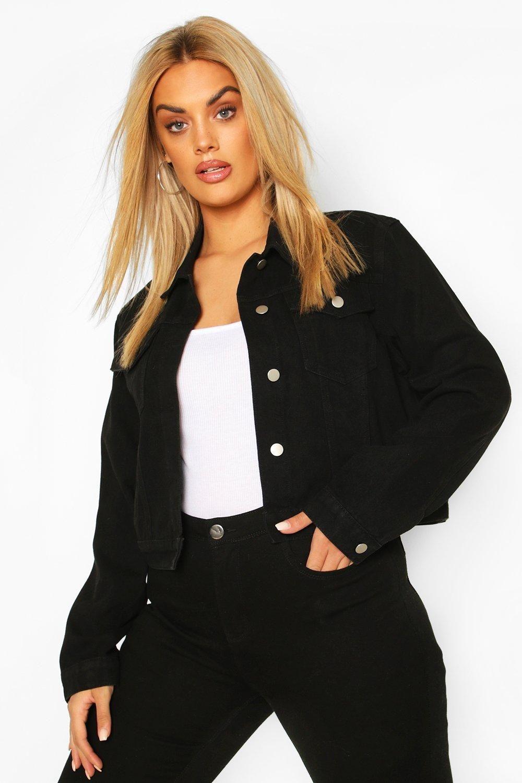 Plus Cropped Denim Jacket Boohoo Cropped Denim Jacket Plus Size Black Jeans Plus Size Outfits [ 1500 x 1000 Pixel ]