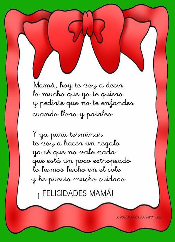 Poemas Bonitas Cartas Para El Dia De La Madre Poesias Infantiles Buscar Con Google Dia De Las Madres Poema