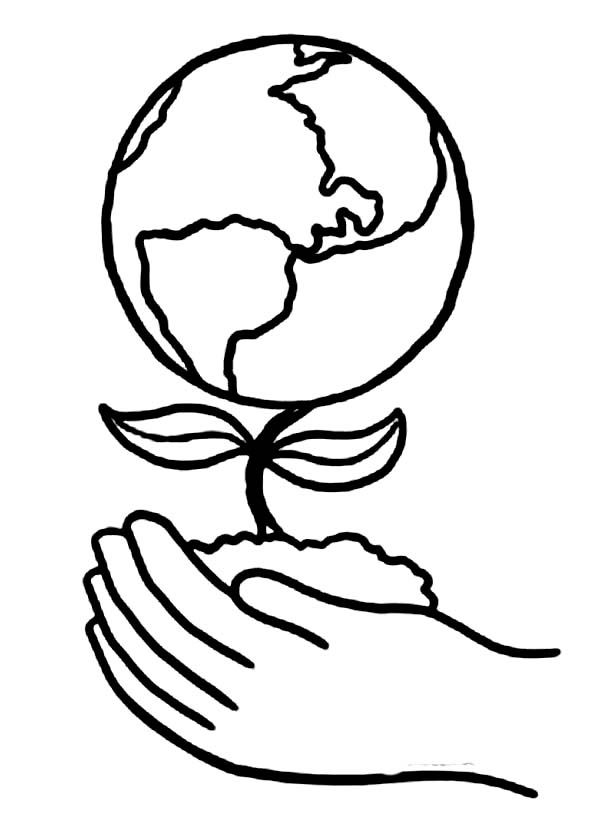 Planting a Healthier Earth on Earth Day Coloring Page | ТРАФАРЕТЫ ...
