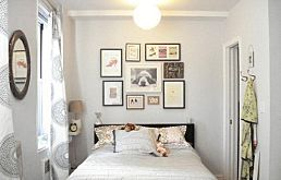 Love the picture wall above bed idea. Would also be great above a sofa back or covering a whole chimney breast as a focal point - Small Bedroom Inspiration