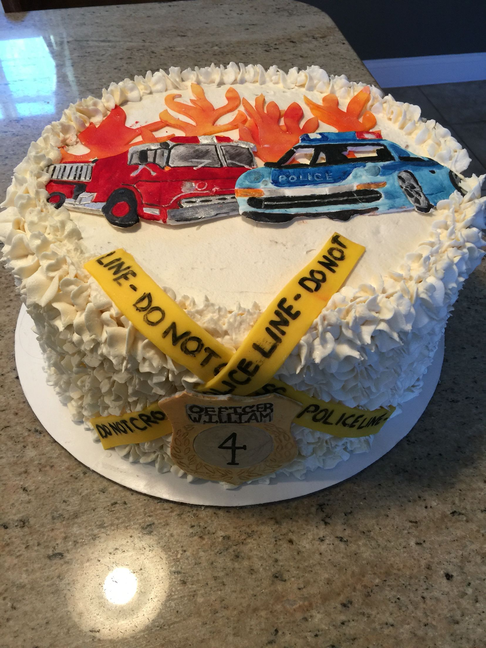 Police & Fire fighter themed cake - all accents done in modeling ...