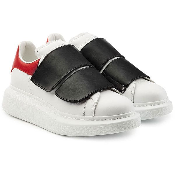 best service 07ac1 a35a6 Alexander McQueen Leather Sneakers (435) ❤ liked on Polyvore featuring  shoes, sneakers, multicolored, leather sneakers, leather trainers, velcro  strap ...
