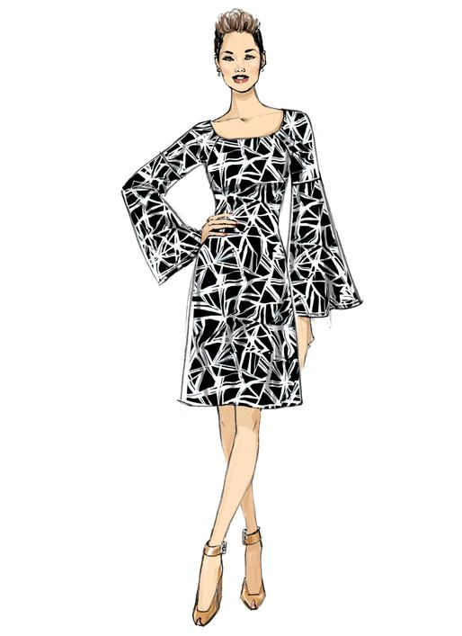 B6585 Semi-fitted Dress with Detailed Sleeves #butterickpatterns ...