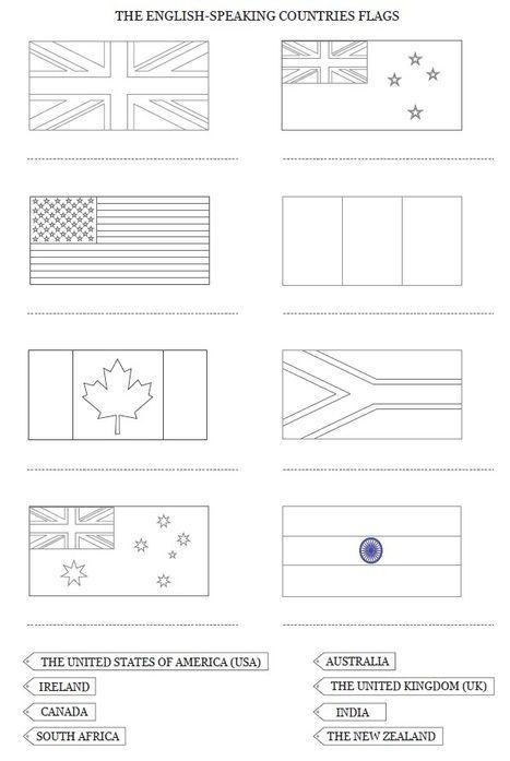 Drapeaux et carte des pays anglophones colorier et compl ter cycle 3 d couvertes de sitespe - Dessiner le drapeau anglais ...