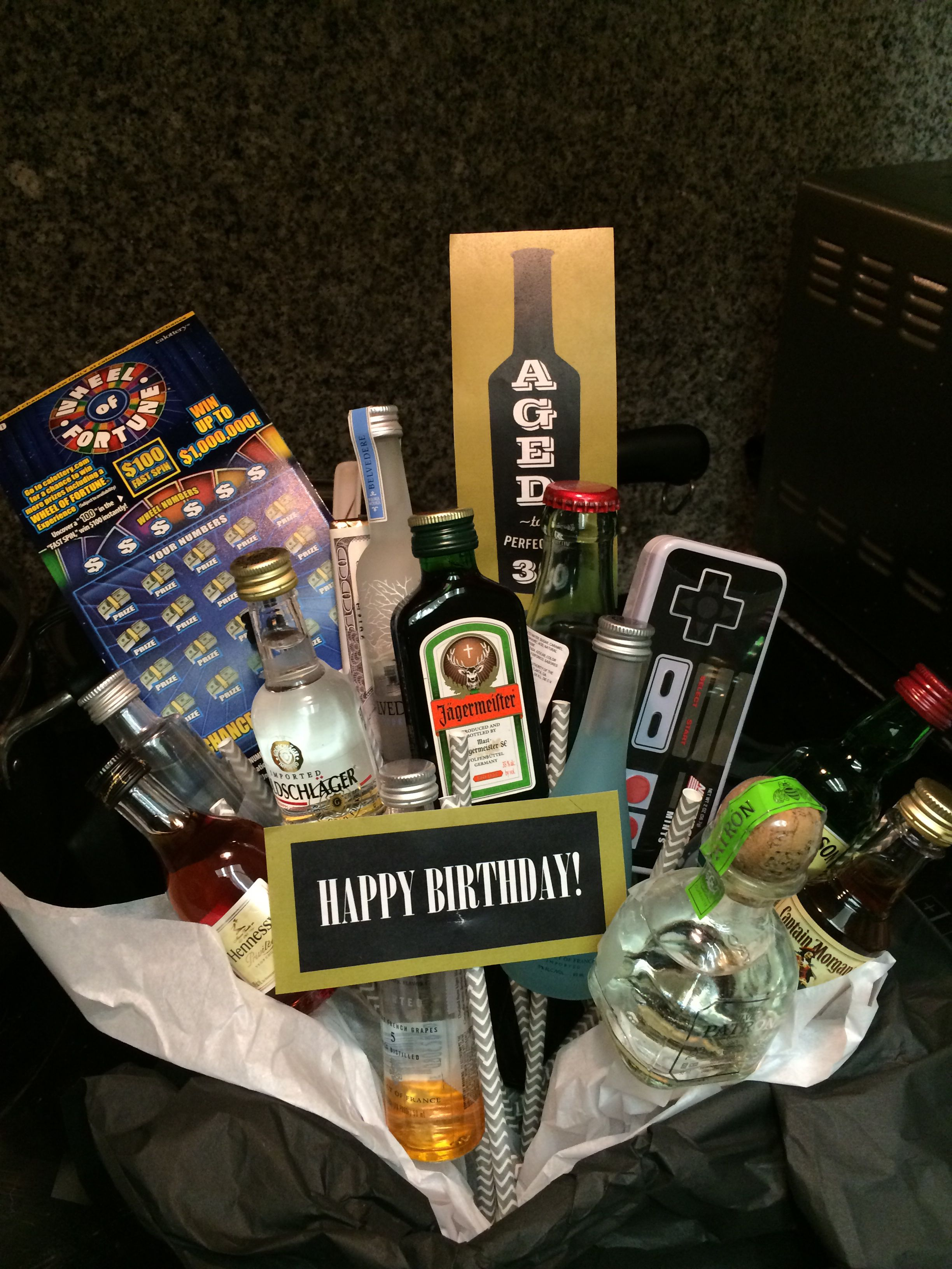 Made My Brother A Gift Basket Full Of Small Alcohol Bottles Scratchers And Candy For His