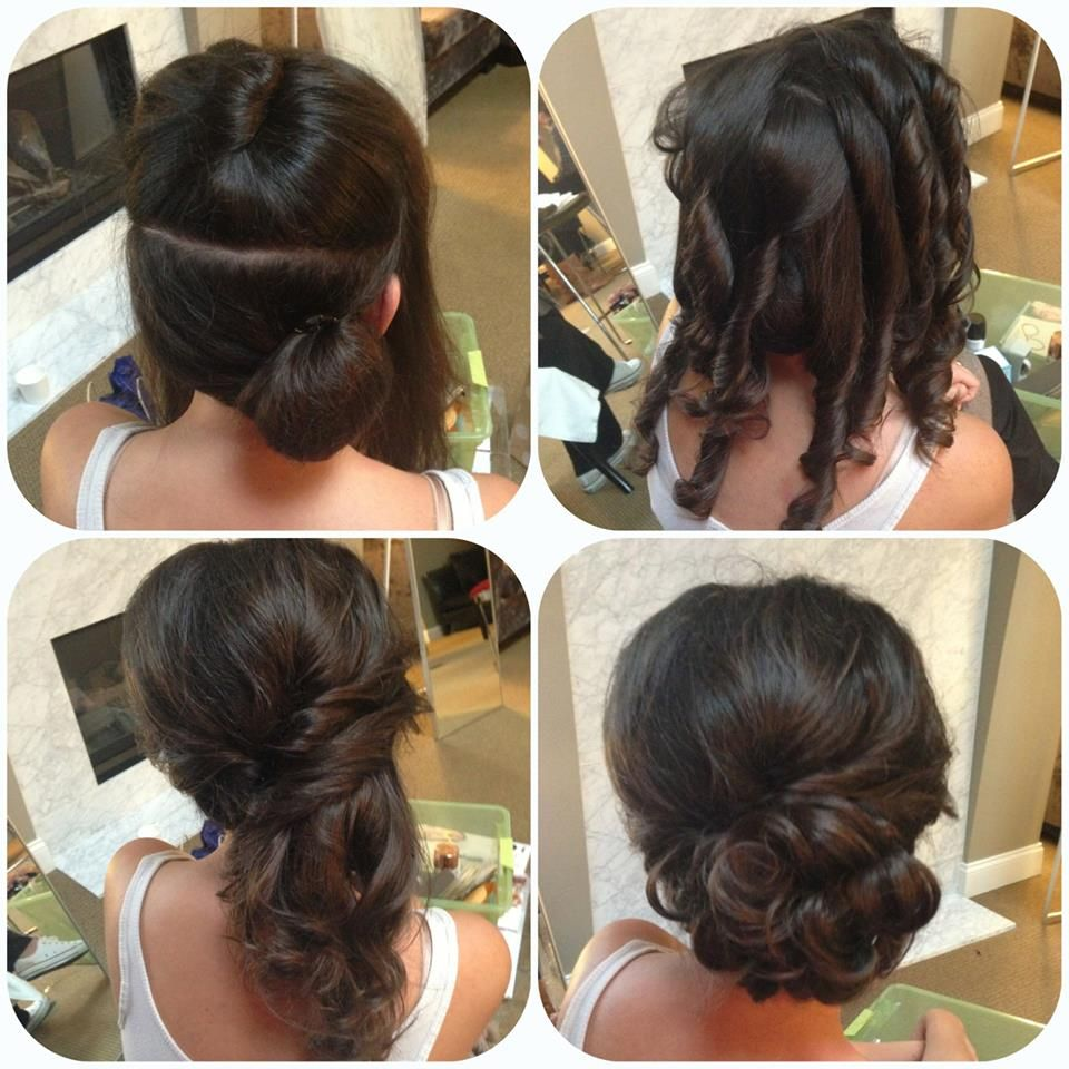 Side updo how to curl so it layers the right direction half up half
