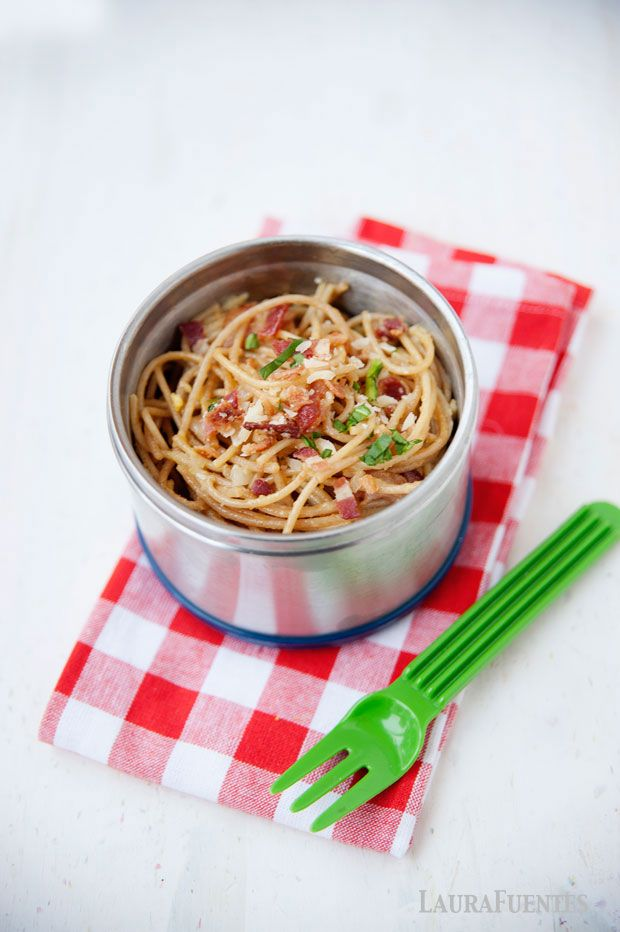 dinner leftovers of spaghetti carbonara make a terrific thermos lunch idea!