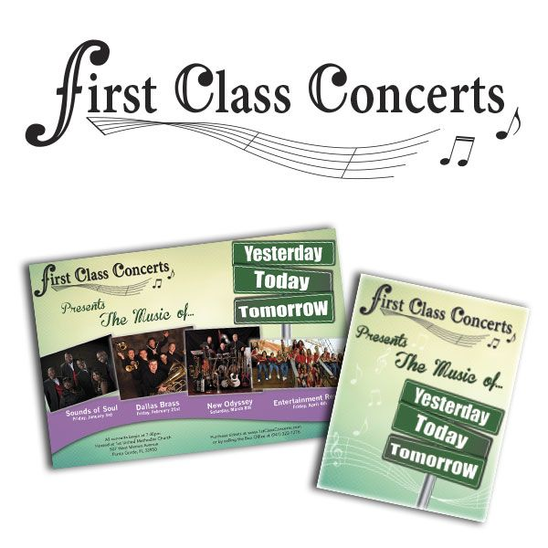 "Postcard design, concert band series theme ""yesterday, today, tomorrow"""