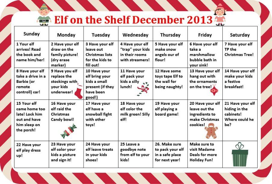 Calendar Name Ideas : Funny elf on the shelf ideas calendar of real