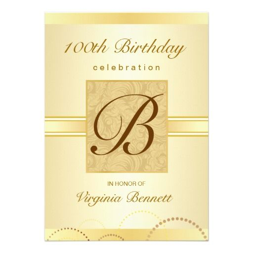 100th birthday party gold damask monogram card | custom, Birthday invitations